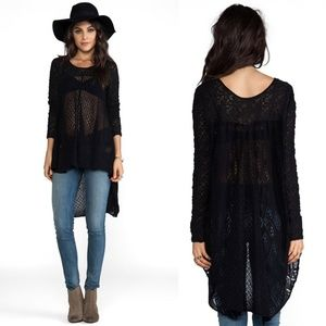Free People Black Magic Lace Tunic Hi Lo Top